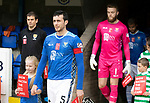 St Johnstone v Celtic…07.10.18…   McDiarmid Park    SPFL<br />Captain Joe Shaughnessy leads saints out before kick off<br />Picture by Graeme Hart. <br />Copyright Perthshire Picture Agency<br />Tel: 01738 623350  Mobile: 07990 594431