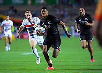 New Zealand's Regan Ware runs in a try during the men's cup final against France. Day two of the 2020 HSBC World Sevens Series Hamilton at FMG Stadium in Hamilton, New Zealand on Sunday, 26 January 2020. Photo: Dave Lintott / lintottphoto.co.nz