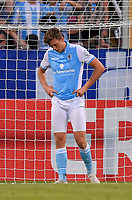 19.08.2018, Football DFB Pokal 2018/2019, 1. round, Tsv 1860 Muenchen - Holstein Kiel, Gruenwalderstadium Muenchen. Die Loewen dejected   dem  - goal. Herbert Paul (TSV 1860 Muenchen).<br /><br /><br />***DFB rules prohibit use in MMS Services via handheld devices until two hours after a match and any usage on internet or online media simulating video foodaye during the match.*** *** Local Caption *** © pixathlon<br /> <br /> Contact: +49-40-22 63 02 60 , info@pixathlon.de