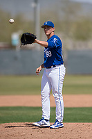 Kansas City Royals relief pitcher Danny Hrbek (68) during a Minor League Spring Training game against the Milwaukee Brewers at Maryvale Baseball Park on March 25, 2018 in Phoenix, Arizona. (Zachary Lucy/Four Seam Images)