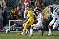 27 MARCH 2010:  Robbie Rogers of the Columbus Crew (19), Nick LaBrocca of Toronto FC (21) ) and Nana Attakora of Toronto FC (3) during the Toronto FC at Columbus Crew MLS game in Columbus, Ohio on March 27, 2010. Crew defeated Toronto FC 2-0.