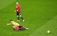 26th May 2021; STADION GDANSK  GDANSK, POLAND; UEFA EUROPA LEAGUE FINAL, Villarreal CF versus Manchester United: Gerard Moreno is tackled by Paul Pogba