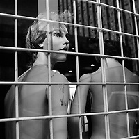 A mannequin 'stares' out of the window of Hollywood Displays on Nugget Street.