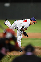 Auburn Doubledays pitcher Mario Sanchez (30) delivers a pitch during a game against the Batavia Muckdogs on August 27, 2014 at Dwyer Stadium in Batavia, New York.  Auburn defeated Batavia 6-4.  (Mike Janes/Four Seam Images)