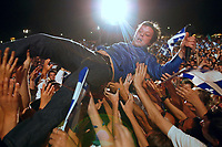 French-Canadian artist Daniel Boucher crowd surfs during the St-Jean-Baptist show on the Plains of Abraham in Quebec city June 23, 2009.