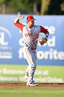 Brooklyn Cyclones second baseman Tyler Moore (15) throws to first during a game against the Batavia Muckdogs on August 9, 2014 at Dwyer Stadium in Batavia, New York.  Batavia defeated Brooklyn 4-2.  (Mike Janes/Four Seam Images)