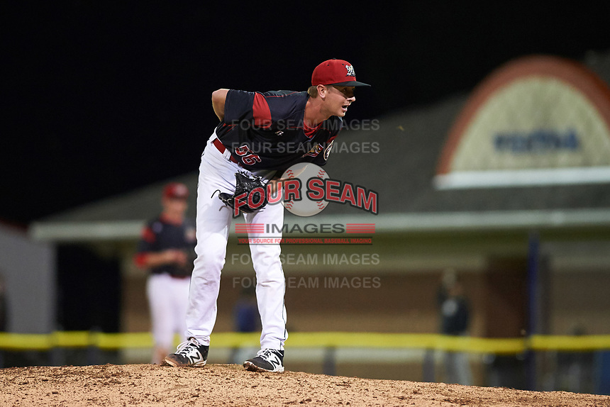Batavia Muckdogs relief pitcher Tyler Frohwirth (56) looks in for the sign during a game against the Tri-City ValleyCats on July 14, 2017 at Dwyer Stadium in Batavia, New York.  Batavia defeated Tri-City 8-4.  (Mike Janes/Four Seam Images)