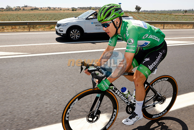 Green Jersey Fabio Jakobsen (NED) Deceuninck Quick-Step during Stage 14 of La Vuelta d'Espana 2021, running 165.7km from Don Benito to Pico Villuercas, Spain. 28th August 2021.     <br /> Picture: Luis Angel Gomez/Photogomezsport | Cyclefile<br /> <br /> All photos usage must carry mandatory copyright credit (© Cyclefile | Luis Angel Gomez/Photogomezsport)