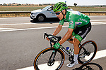 Green Jersey Fabio Jakobsen (NED) Deceuninck Quick-Step during Stage 14 of La Vuelta d'Espana 2021, running 165.7km from Don Benito to Pico Villuercas, Spain. 28th August 2021.     <br /> Picture: Luis Angel Gomez/Photogomezsport   Cyclefile<br /> <br /> All photos usage must carry mandatory copyright credit (© Cyclefile   Luis Angel Gomez/Photogomezsport)