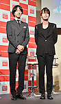 Geoni and Jihyuk(Choshinsung, Supernova), Aug 30, 2013 : Tokyo, Japan :Geonil(L) and Jihyuk of Korean boy band Supernova attend a press conference for new promotion video of Lotte Duty Free shop in Tokyo, Japan, on August 30, 2013.