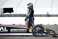 Oct 31, 2020; Las Vegas, Nevada, USA; NHRA top fuel driver Antron Brown during qualifying for the NHRA Finals at The Strip at Las Vegas Motor Speedway. Mandatory Credit: Mark J. Rebilas-USA TODAY Sports