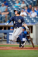 San Antonio Missions third baseman Ty France (8) follows through on a swing during a game against the Tulsa Drillers on June 1, 2017 at ONEOK Field in Tulsa, Oklahoma.  Tulsa defeated San Antonio 5-4 in eleven innings.  (Mike Janes/Four Seam Images)
