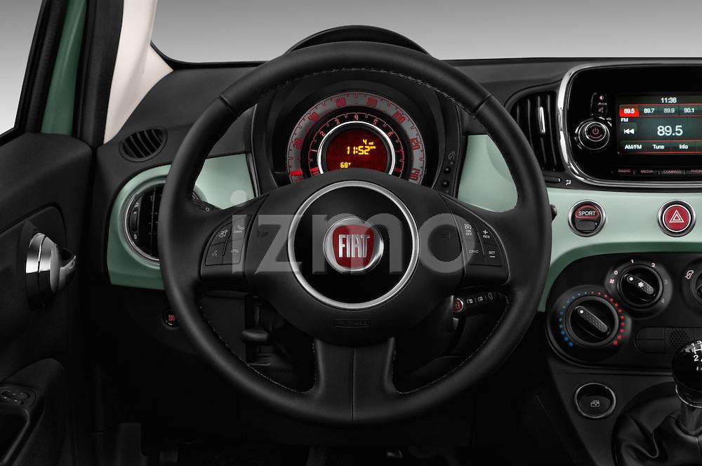 Car pictures of steering wheel view of a 2017 Fiat 500 Pop 3 Door Hatchback Steering Wheel
