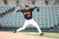 2007:  Scott Baker of the Rochester Red Wings delivers a pitch at Frontier Field during a International League baseball game. Photo By Mike Janes/Four Seam Images