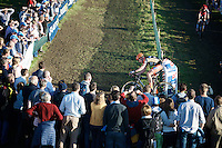 race leader Wout Van Aert (BEL/Vastgoedservice-Golden Palace)<br /> <br /> elite men's race<br /> Koppenbergcross 2015