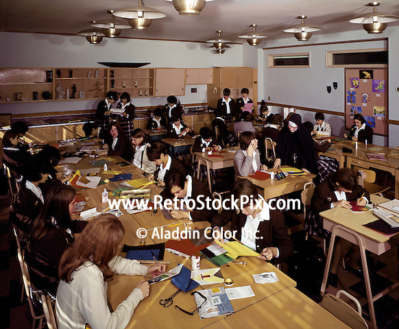 Young girls in arts and crafts class.