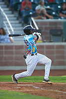 Idaho Falls Chukars Isaiah Henry (22) at bat during a Pioneer League game against the Missoula Osprey at Melaleuca Field on August 20, 2019 in Idaho Falls, Idaho. Idaho Falls defeated Missoula 6-3. (Zachary Lucy/Four Seam Images)
