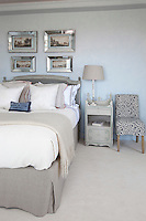 Contemporary bedroom in white and grey