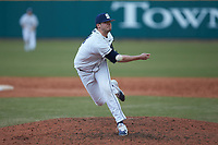 Penn State Nittany Lions relief pitcher Tom Mullin (18) in action against the Xavier Musketeers at Coleman Field at the USA Baseball National Training Center on February 25, 2017 in Cary, North Carolina. The Musketeers defeated the Nittany Lions 10-4 in game one of a double header. (Brian Westerholt/Four Seam Images)