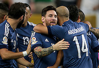 Houston, TX - June 21, 2016: The U.S. Men's National team go down 0-1 to Argentina from a goal by Ezequiel Lavezzi in first half action in Semifinal play at the 2016 Copa America Centenario at NRG Stadium.