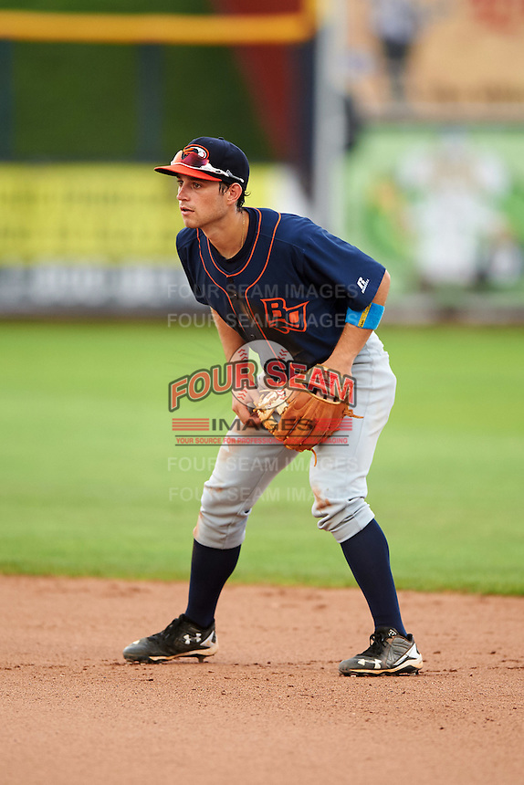 Bowing Green Hot Rods second baseman Brandon Lowe (5) during a game against the Quad Cities River Bandits on July 24, 2016 at Modern Woodmen Park in Davenport, Iowa.  Quad Cities defeated Bowling Green 6-5.  (Mike Janes/Four Seam Images)