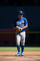 Kansas City Royals relief pitcher Andres Sotillet (33) prepares to deliver a pitch during an Instructional League game against the Arizona Diamondbacks at Chase Field on October 14, 2017 in Scottsdale, Arizona. (Zachary Lucy/Four Seam Images)