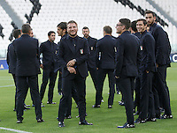 Italy's players inspect the pitch of the Juventus Stadium, ahead of the FIFA World Cup 2018 qualification match against Spain, in Turin, 5 October 2016.<br /> <br /> <br /> UPDATE IMAGES PRESS/Isabella Bonotto