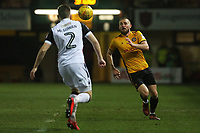 Dan Butler of Newport County challenges Aaron McGowan of Morecambe during the Sky Bet League Two match between Newport County and Morcambe at Rodney Parade, Newport, Wales, UK. 23 January 2018