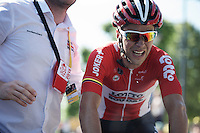 Tony Gallopin (FRA/Lotto-Soudal) digged deep up the Mur de Huy<br /> <br /> stage 3: Antwerpen (BEL) - Huy (BEL)<br /> 2015 Tour de France
