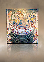 4th Century AD Roman Opus Sectile Mosaic depicting nymphs from the basilica de Giunio Basso .  Museo Nazionale Romano ( National Roman Museum), Rome, Italy. Against an art background.