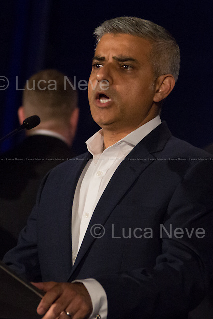 """(From L to R) Paul Golding (Britain First London Mayor Candidate) & Sadiq Khan MP (Labour Party new Mayor of London).<br /> <br /> London, 06-07/05/2016. The morning after the London Mayoral Election, press began to congregate on the ninth floor of City Hall to report on the results and the official announcement of the new Mayor of London. At 15:21, the press team of City Hall announced the results by constituency. At just gone 17:30, the press videographers and photographers were escorted downstairs to the Chamber (second floor) to wait for the official final announcement. The press waited, however, almost five hours for this to happen. At 22:11, the Greater London Returning Officer, Jeff Jacobs, approached the stage and presented the new Greater London Assembly members. And, finally, at 12:18 on the 7th of May (just under nine hours after the first City Hall press announcement), Mr Jacobs officially announced the new Mayor of London, Sadiq Khan for the Labour Party. An official statement (that you can find at https://londonelects.org.uk/news-centre/news-listing/election-count-delay-explained and in the PDF attached to this story) was released on the 7th of May to explain the delay - which was previously described as being due to """"minor discrepancies in Mayoral figures"""". <br /> For more information, official statements, the results of the Mayoral Election and links for the London Assembly Members Election Results please find the PDF attached at the beginning of the story.<br />    <br /> London Mayoral Election 2016 Results:<br /> (Sources London Elects & Wikipedia)<br /> https://www.londonelects.org.uk/sites/default/files/Part%201%20Election%20of%20the%20London%20Mayor.pdf <br /> https://en.wikipedia.org/wiki/London_mayoral_election,_2016<br /> <br /> London Assembly Members Election 2016 Results:<br /> https://www.londonelects.org.uk/sites/default/files/London-wide%20Assembly%20Member%20results%202016.pdf<br /> https://en.wikipedia.org/wiki/London_Assembly_electi"""