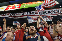 USA Fans cheer the final moments of the United States Men's National Team's game against Guatemala at Livestrong Sporting Park in Kansas City, Kansas in a World Cup Qualifier on Tue. Oct. 16, 2012. The USA won 3-1.