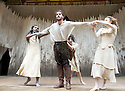 Macbeth by William Shakespeare. A Shakespeare's Globe Production directed by Eve Best. with Joseph Millson as Macbeth,  Moyo Akande, Cat Simmons, Jess Murphy as Witches .Opens at the Shakespeare's Globe Theatre on 4/7/13  pic Geraint Lewis