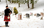 WINSTED, CT-121617JS05---Bagpiper Kenneth Storrs, plays during the Wreaths Across America ceremony Saturday at Forest View Cemetery in Winsted. The event was hosted by the Brooks-Green Woods Chapter of the National Society Daughters of the American Revolution.  <br /> Jim Shannon Republican-American