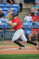 Erie SeaWolves first baseman Blaise Salter (24) follows through on a swing during a game against the Binghamton Rumble Ponies on May 14, 2018 at NYSEG Stadium in Binghamton, New York.  Binghamton defeated Erie 6-5.  (Mike Janes/Four Seam Images)
