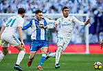 Carlos Henrique Casemiro of Real Madrid fights for the ball with Lucas Perez Martinez of RC Deportivo La Coruna during the La Liga 2017-18 match between Real Madrid and RC Deportivo La Coruna at Santiago Bernabeu Stadium on January 21 2018 in Madrid, Spain. Photo by Diego Gonzalez / Power Sport Images