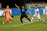 SAN JOSE, CA - SEPTEMBER 16: Vako #11 of the San Jose Earthquakes  is defended by Steve Clark #12 of the Portland Timbers during a game between Portland Timbers and San Jose Earthquakes at Earthquakes Stadium on September 16, 2020 in San Jose, California.