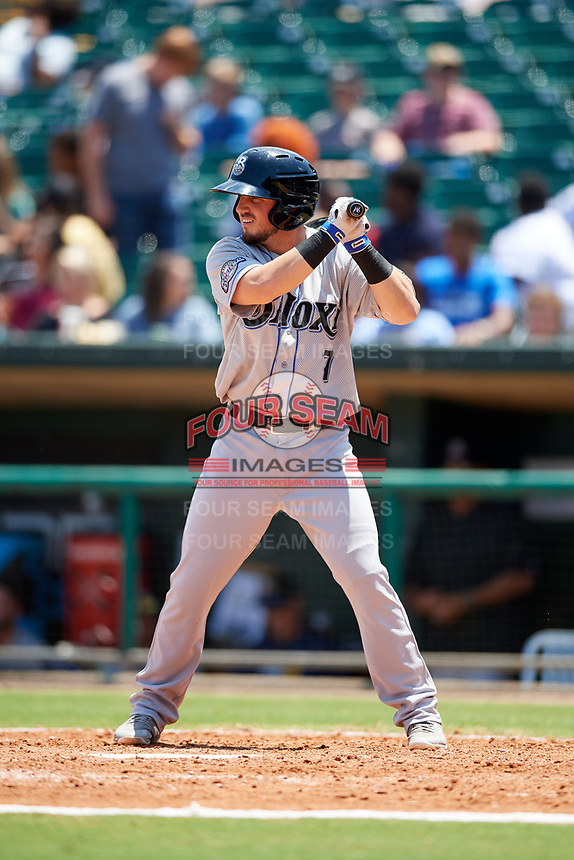 Biloxi Shuckers second baseman Blake Allemand (7) at bat during a game against the Montgomery Biscuits on May 8, 2018 at Montgomery Riverwalk Stadium in Montgomery, Alabama.  Montgomery defeated Biloxi 10-5.  (Mike Janes/Four Seam Images)