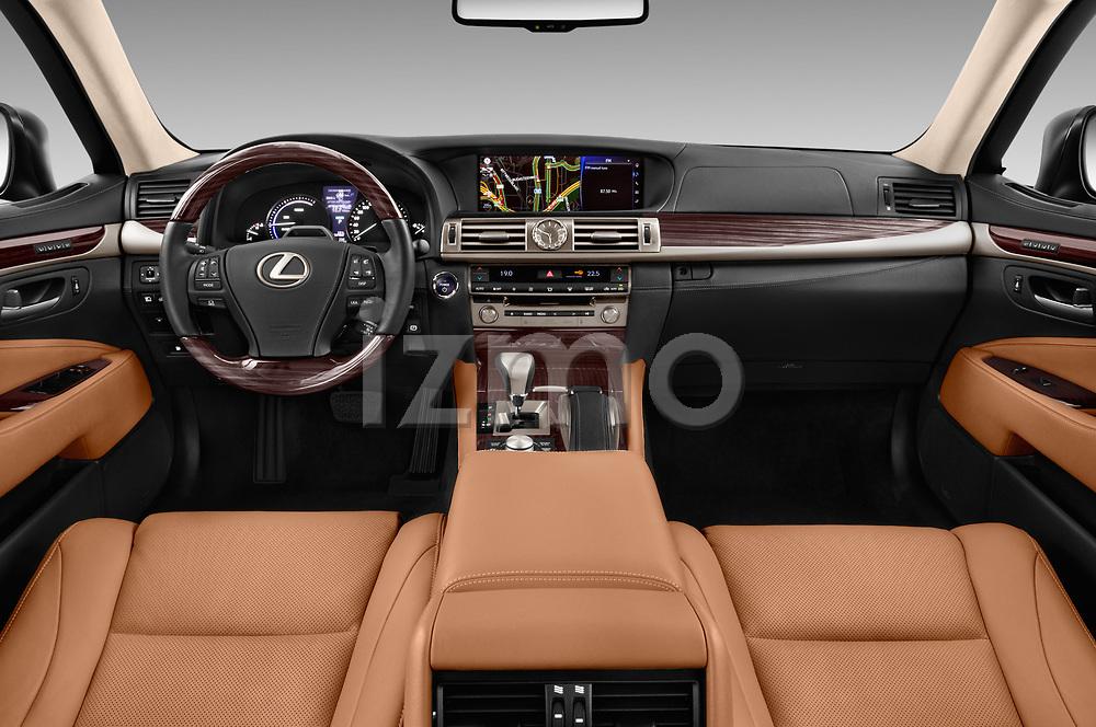 Stock photo of straight dashboard view of 2016 Lexus LS 600H-L-President-Line 4 Door Sedan Dashboard