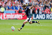 Scotland Scrum-Half Greig Laidlaw kicks a conversion - Mandatory byline: Rogan Thomson - 23/09/2015 - RUGBY UNION - Kingsholm Stadium - Gloucester, England - Scotland v Japan - Rugby World Cup 2015 Pool B.