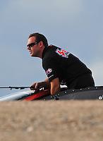 Nov. 1, 2008; Las Vegas, NV, USA: NHRA pro stock driver Jason Line during qualifying for the Las Vegas Nationals at The Strip in Las Vegas. Mandatory Credit: Mark J. Rebilas-