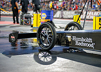 Jul 19, 2019; Morrison, CO, USA; Detailed view of the front wing and wheels on the dragster of NHRA top fuel driver Mike Salinas during qualifying for the Mile High Nationals at Bandimere Speedway. Mandatory Credit: Mark J. Rebilas-USA TODAY Sports
