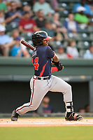Center fielder Justin Dean (14), a 2018 Braves draft pick from Lenoir-Rhyne, gets his first hit as a member of the Rome Braves in Game 2 of a doubleheader against the Greenville Drive on Friday, August 3, 2018, at Fluor Field at the West End in Greenville, South Carolina. (Tom Priddy/Four Seam Images)