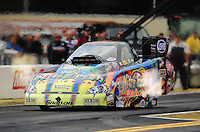 Sept. 30, 2011; Mohnton, PA, USA: NHRA funny car driver Tony Pedregon during qualifying for the Auto Plus Nationals at Maple Grove Raceway. Mandatory Credit: Mark J. Rebilas-