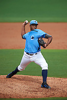 Charlotte Stone Crabs pitcher Isaac Gil (13) delivers a pitch during a game against the Dunedin Blue Jays on July 26, 2015 at Charlotte Sports Park in Port Charlotte, Florida.  Charlotte defeated Dunedin 2-1 in ten innings.  (Mike Janes/Four Seam Images)