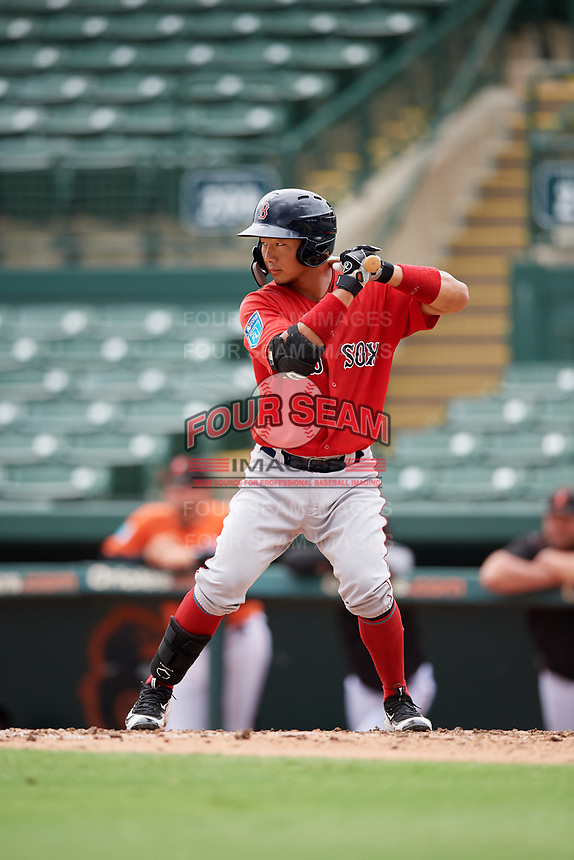 Boston Red Sox Justin Qiang (25) at bat during a Florida Instructional League game against the Baltimore Orioles on October 8, 2018 at the Ed Smith Stadium in Sarasota, Florida.  (Mike Janes/Four Seam Images)
