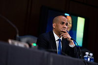 United States Senator Cory Booker (Democrat of New Jersey) speaks during the fourth day of the confirmation hearing for Judge Amy Coney Barrett, US President Donald Trump's Nominee for Supreme Court, in Hart Senate Office Building in Washington DC, on October 15th, 2020.<br /> Credit: Anna Moneymaker / Pool via CNP /MediaPunch