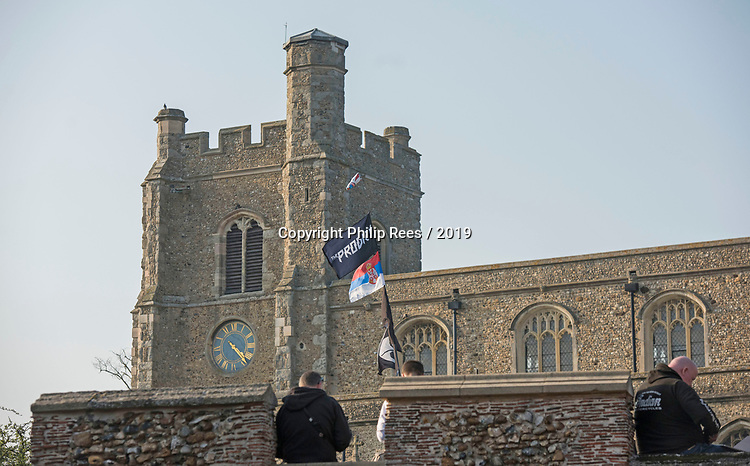 A Prodigy flag outside the church during the funeral of Prodigy singer Keith Flint at St Marys Church in Bocking,  Essex today.