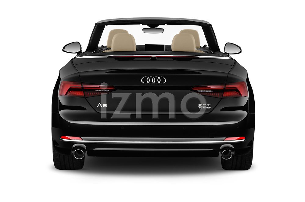 Straight rear view of a 2018 Audi A5 Cabriolet Premium Plus 2 Door Convertible stock images