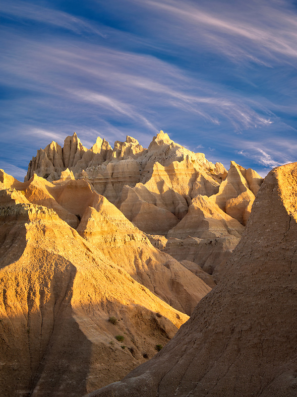 Eroded rock formations. Badlands National Park. South Dakota
